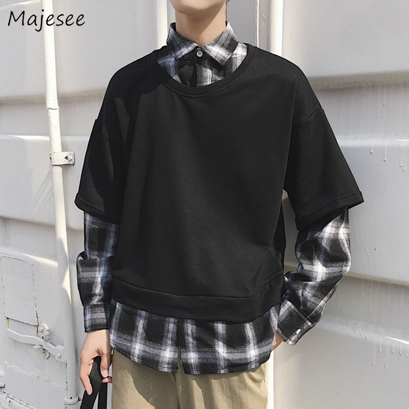 Men Shirts Fake Two Pieces Chic Pullover All-match Student Plaid Mens Long Sleeve Turn-down Collar Retro BF Harajuku Couples