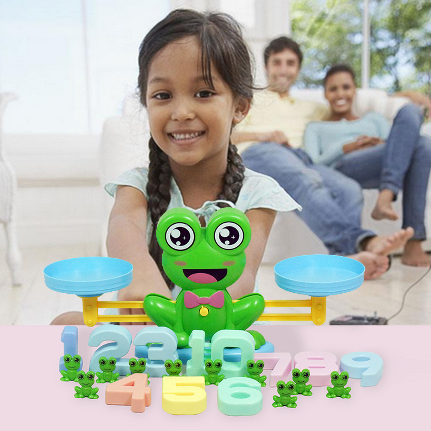 Kids Cute Cartoon Frog Balance Scale Counting Number Learn Add and Subtract Mathematical Operation Math Matching Game Toy image