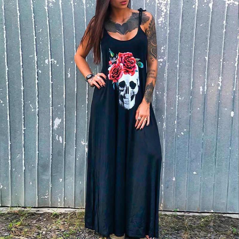 Phụ Nữ Cao Cấp Gợi Cảm Chia Dài Váy Đầm Phong Cách Punk Rời Dây ĐẦM MÙA HÈ Đầu Lâu In Hoa Không Tay Đầm Maxi Vestidos