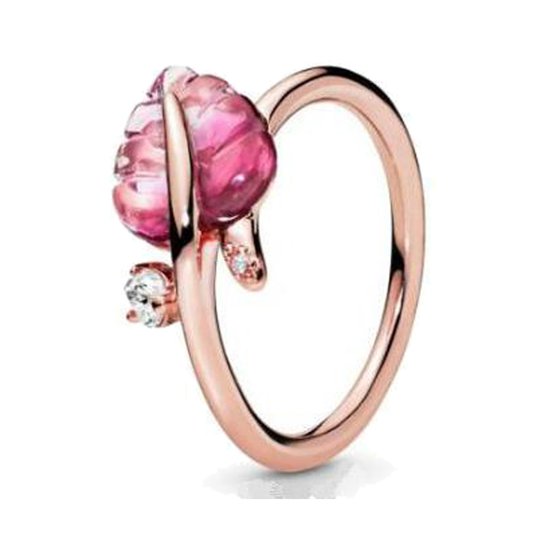 Real 925 Sterling Silver Ring Rose Gold Pink Murano Glass Leaf Rings For Women Wedding Party Gift Europe Fashion Jewelry
