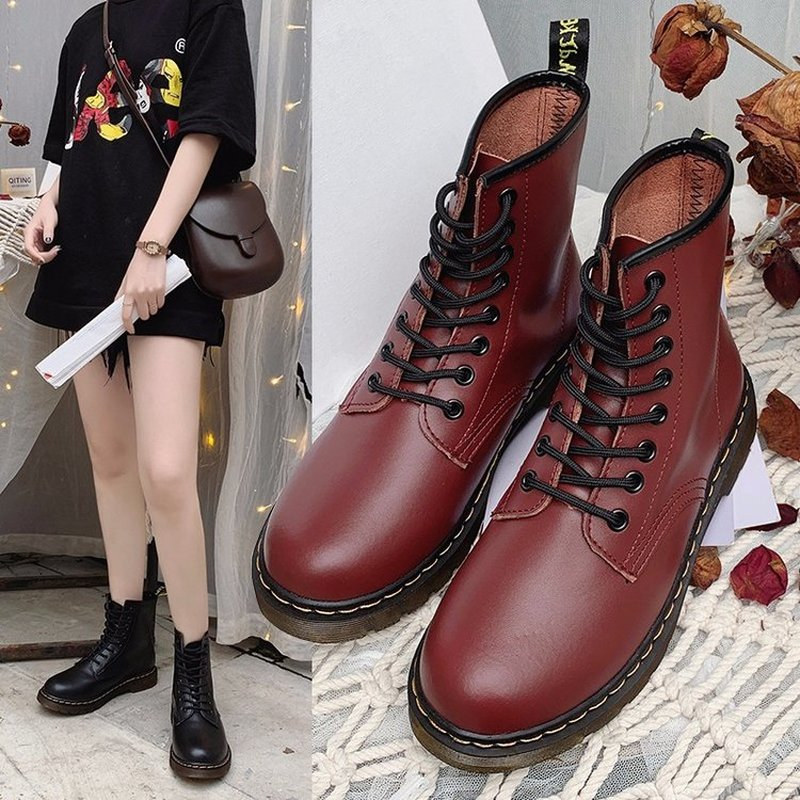 Women Boots Genuine Leather Ankle Martens Boots fo