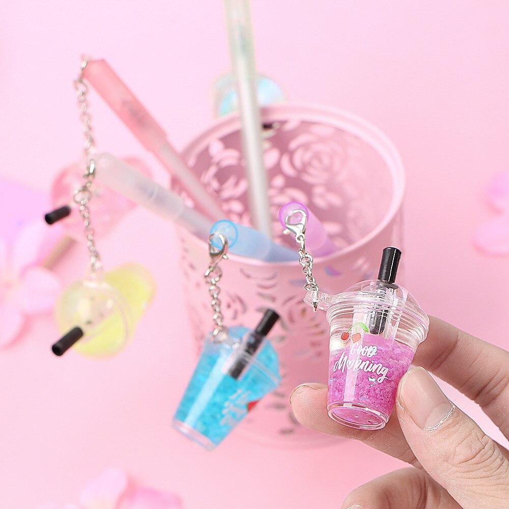 Gel Pen 0.5mm Pens Kawaii Drink Cup Pendant Neutral Pens For School Girls Gift Writing Office Supplies Stationery Novelty Item