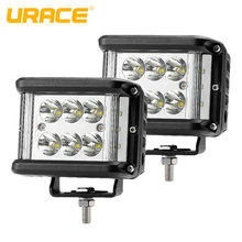цена на URACE 4 60w LED Work Light Spot Flood LED Bar Offroad 12V 24V Driving Fog Light Motorcycle For 4X4 4WD Truck UTV ATV SUV Jeep