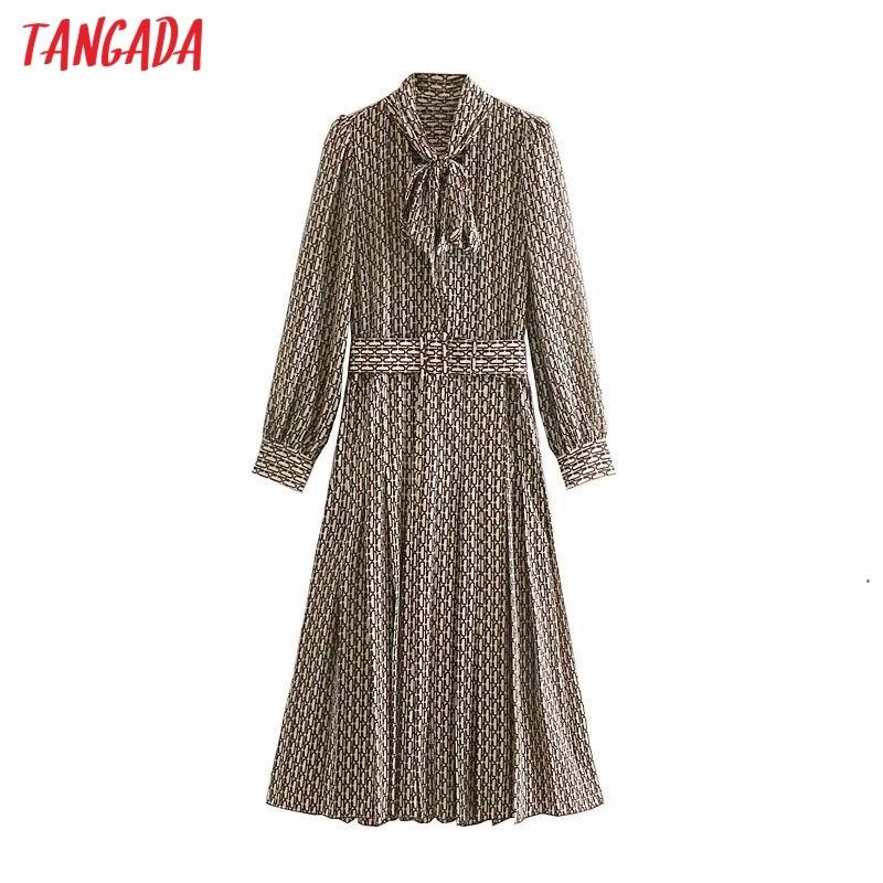 Tangada femmes robe élégante chaîne imprimé nœud papillon cou à manches longues 2019 coréen mode bureau dame midi robes vestidos 5Z50