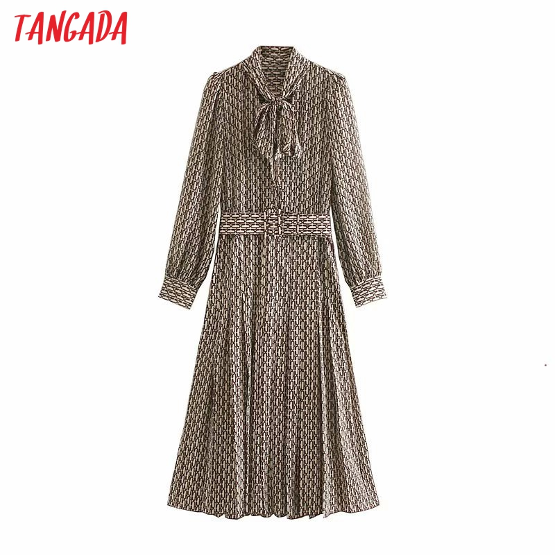Tangada Women Elegant Dress Chain Printed Bow Tie Neck Long Sleeve 2019 Korean Fashion Office Lady Midi Dresses Vestidos 5Z50
