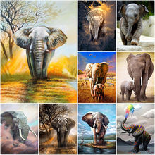 Diy elephant 5d diamond painting full round drill animal embroidery