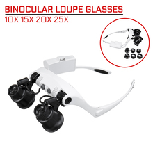 Magnifier 10X 15X 20X 25X LED Double Eye Glasses Loupe Lens with 8 Lens LED Lamp Professional Jeweler Watch Repair Measurement