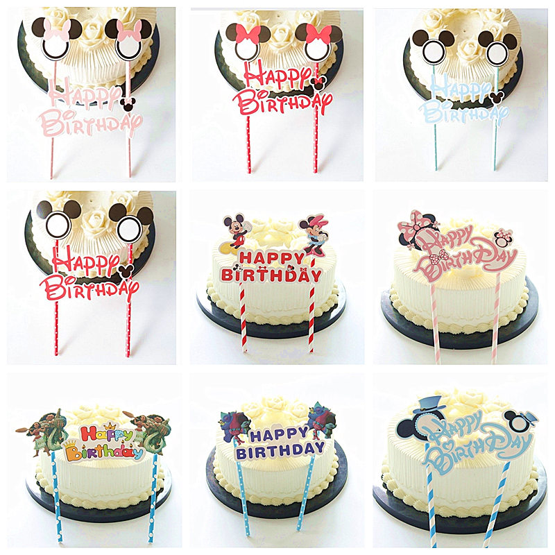 Awesome 1Pcs Mickey Minnie Mouse Theme Happy Birthday Cupcake Cake Topper Funny Birthday Cards Online Elaedamsfinfo