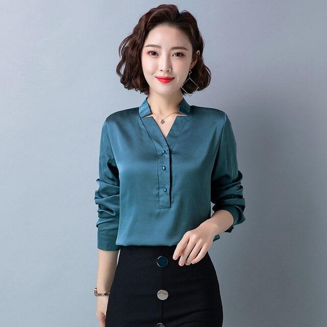 Korean Fashion Silk Women Blouses Satin Office Lady Shirt and Blouse Loose Long Sleeve Blusas Largas Plus Size Womens Tops 1