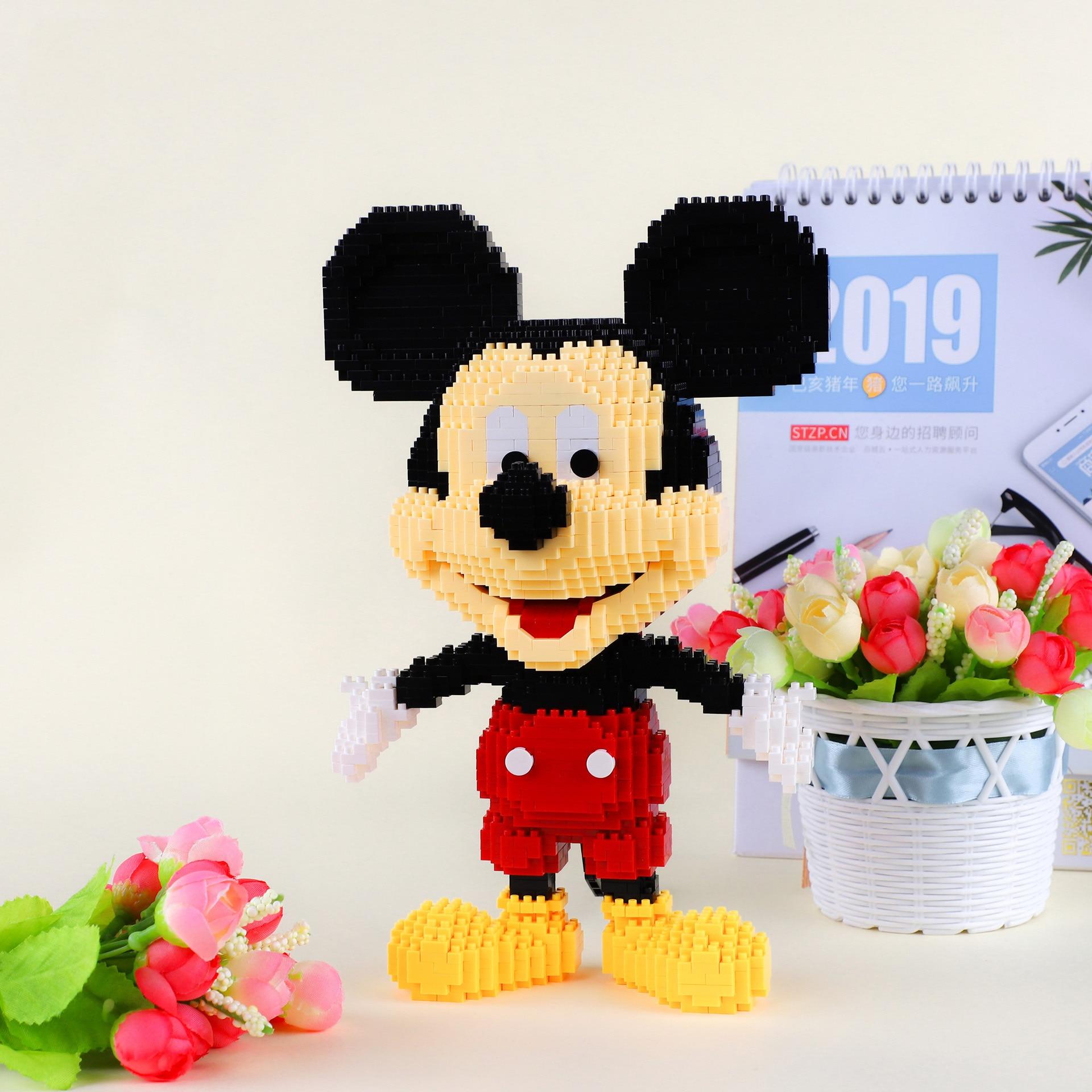 New 1891pcs+ Mickey Diamond Blocks Mirco 3D Model Mouse Classic Cartoon Mini Building Bricks Figures For Bricks Toys