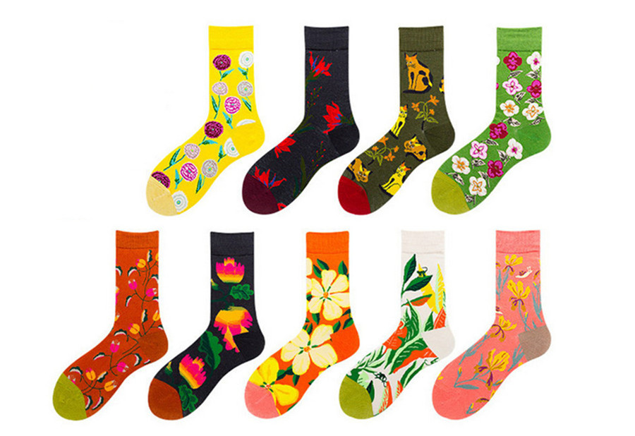Women's Cotton Socks, Children's Flowers Series, Cat Middle Tube Socks, European And American Street Trend College Socks