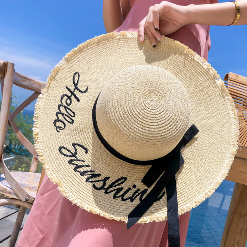 Straw Hat Women Summer Big Wide Brim Embroidery Sun Protection Adjustable Floppy Foldable Beach Hats for Women 2021