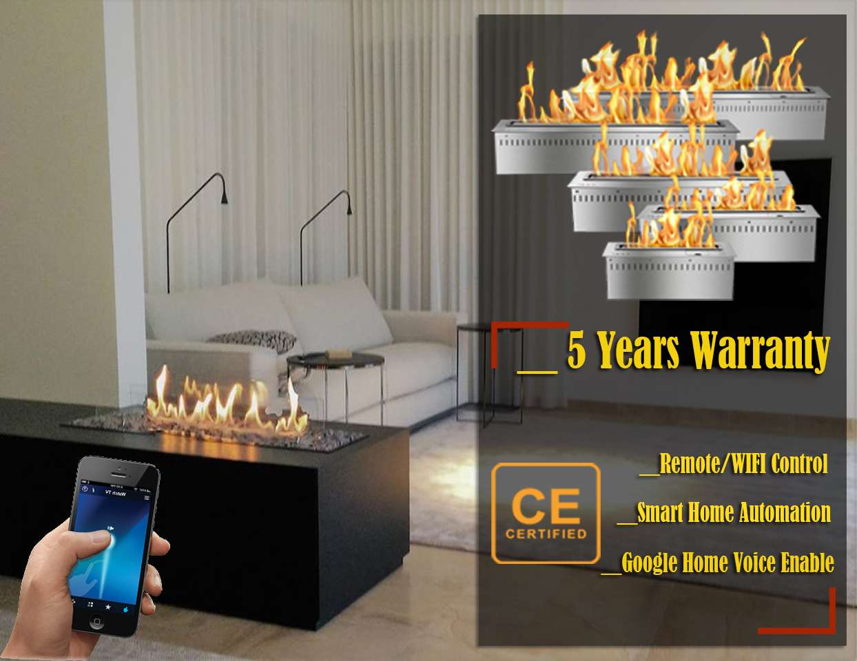 Hot Sale 72 Inches Modern Fireplace Ethanol Ventless Remote Burner Insert