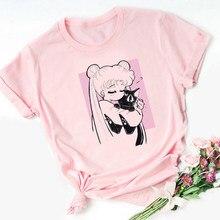 FIXSYS Harajuku Ullzang Pink Tshirt Sailor Moon 90s Funny T Shirt Aesthetic Cat Anime Women Female T-shirt Kawaii Tops Tee
