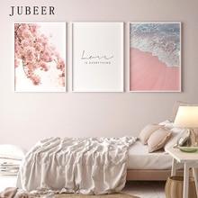 Cartel de estilo escandinavo cuadro decorativo de playa Marina arte de pared de flores rosa para sala de estar decoración nórdica decoración del hogar