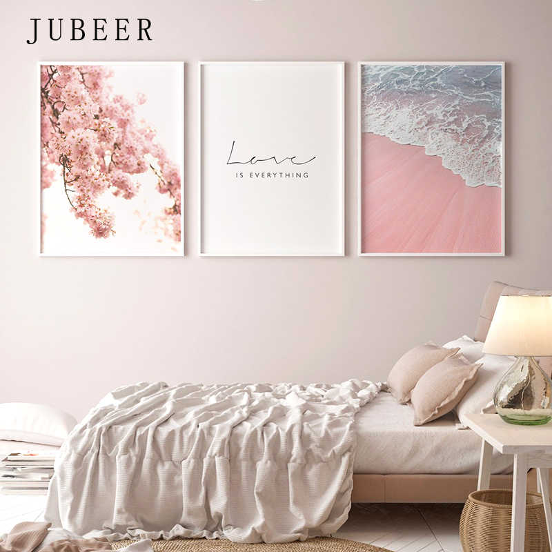 Scandinavian Style Poster Sea Beach Decorative Picture Pink Flower Wall Art for Living Room Nordic Decoration Home Decor