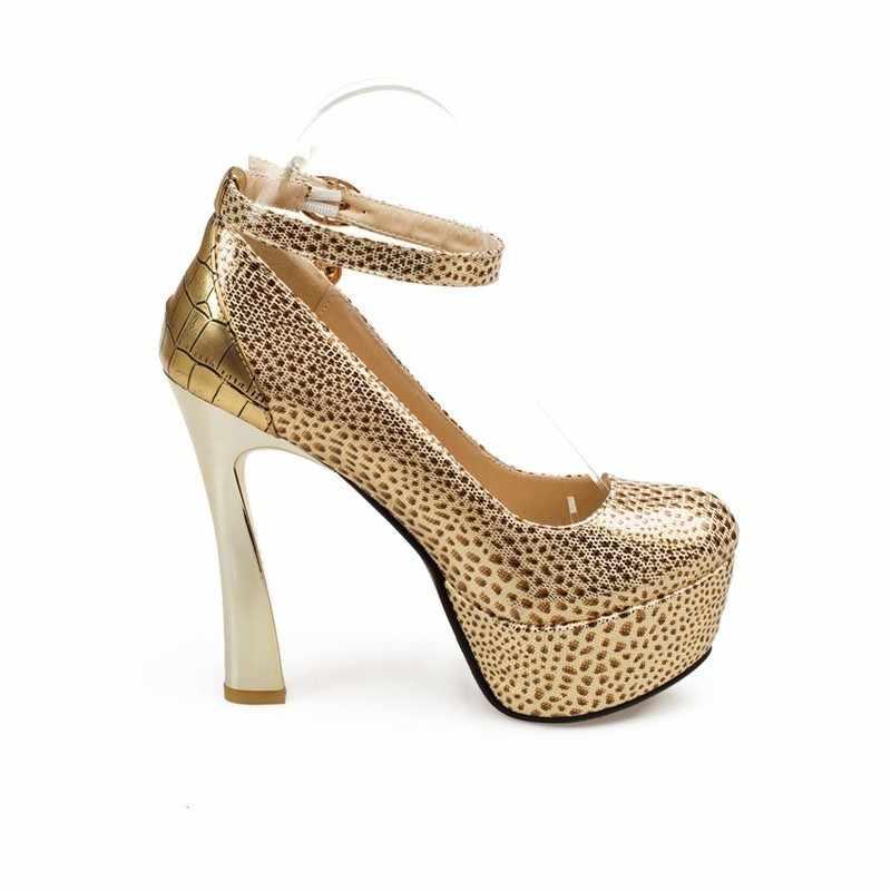 ใหม่มาถึงขายร้อนแฟชั่นผู้หญิงรองเท้าส้นสูงรองเท้า Pointed Toe BUCKLE PU หนังเสือดาวสำหรับชุดปาร์ตี้สตรีงานแต่งงานปั๊ม