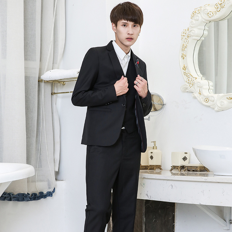2019 Spring New Style Korean-style Men Slim Fit Suit Best Man Brothers' Group Clothing Suit Three-piece Set