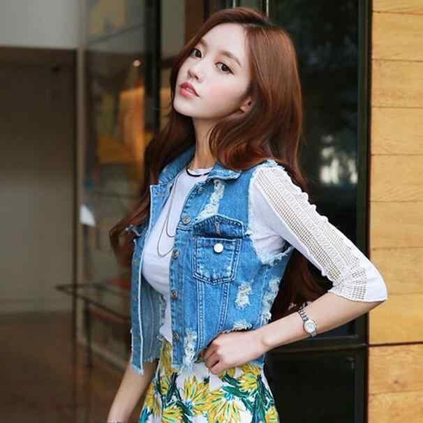 XL Высокое качество женские джинсовые Жилеты Новинка 2019 осень без рукавов рваные пуговицы джинсы жилет топы DF966