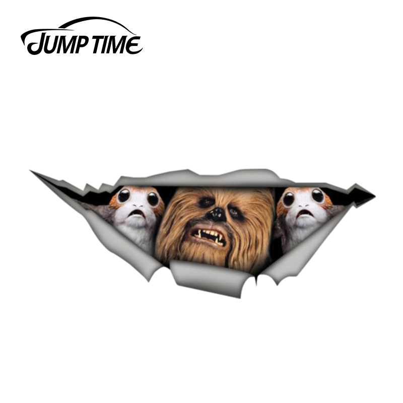 Jump Time 13cm X 4.8cm Chewbacca Porg Sticker Torn Metal Decal Wild Animal Funny Car Stickers Window Bumper 3D Car Styling