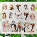 Красивые Водные Наклейки для ногтей в виде роз и птиц, длинные волосы для молодых девушек, кролик, цветы, Слайдеры для маникюра, наклейки, укр...