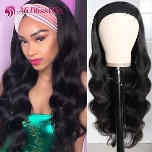 Peluca con diadema s cuerpo ondulado pelucas de cabello humano para mujeres negras peluca con diadema pelo humano diadema bufanda pelucas peluca hecha a máquina completa