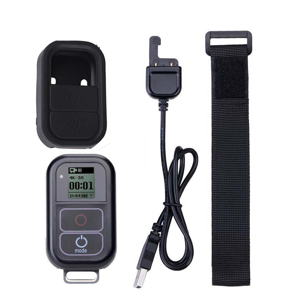 Go Pro WiFi Remote Control+Charger Cable Wrist Strap Waterproof GoPro Remote Case for Hero 7 6 5 Black 4 session 3+Accessory-in Sports Camcorder Cases from Consumer Electronics