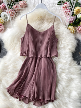 Sexy jumpsuit female jumpsuit strapless girl jumpsuit ruffled temperament loose strappy hakama pleated fake two piece jumpsuit