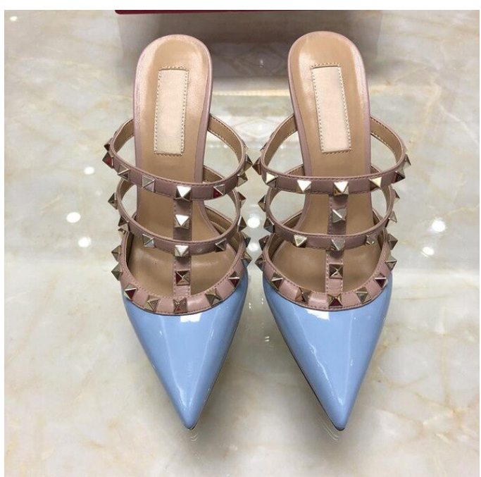 2020 Brand Shoes Sky Blue Women High Heel Sandals With Rivets 6cm 8cm 10cm Thin Heel Wedding Shoes Pointed Toe Pumps