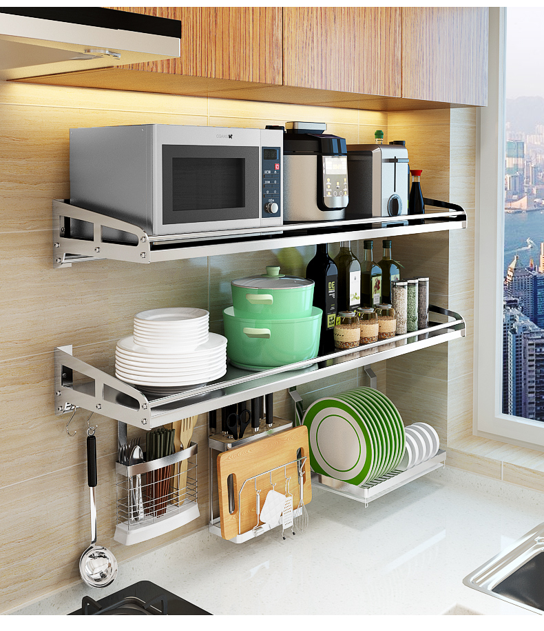 wall 304 stainless steel wall mounted microwave oven rack kitchen storage seasoning electric oven bracket sub layer