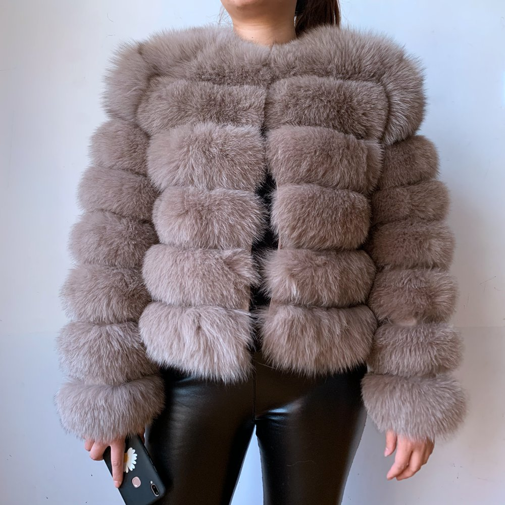 50CM Real Fur Real Fur Fox Coat Outfit Long Sleeves Quality Silver Fox Women Winter Warm Thick Natural Fox Fur Coats