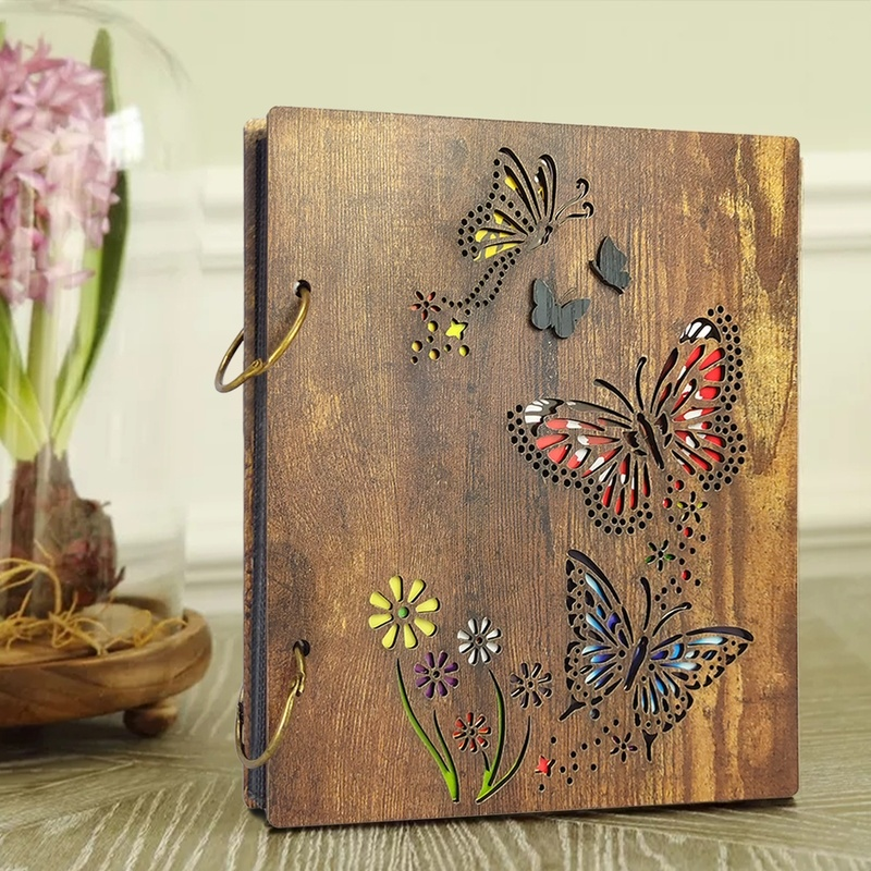 4X6 Inch Wood Photo Album Butterfly and Flowers Design 120 Photos Wooden Cover Photo Book image