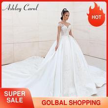 Ashley Carol suknie ślubne satynowe 2020 Vestido Noiva Sweetheart luksusowe koronki z kryształkami księżniczka suknia ślubna linia szata De Mariee
