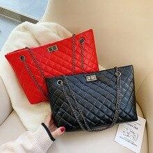 Women Shoulder Bags Sewing Thread Checkered Tote Bag Large Womens Leather Handbags Fashion Lady Classic Handbag