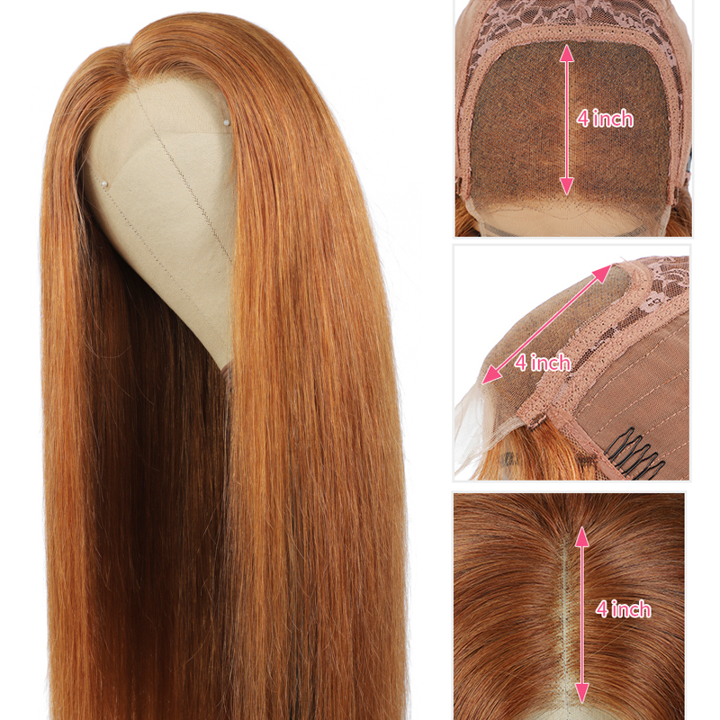 Wig Lace Human-Hair Straight Women Brown Black Colored Brazilian 4X4 for 150-%