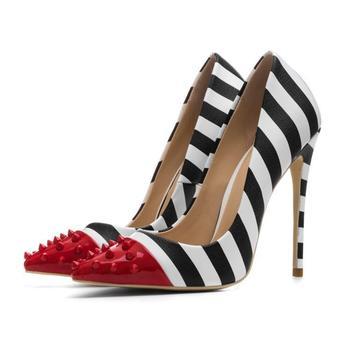 US4-11 Women's Black White Zebra High Heels Red Stripe Rivet Studs Toe Stilettos Shoes Pumps Low Top Plus Size B500