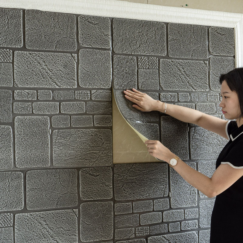 3D Stereo Self-Adhesive Brick Wallpaper Anti-Collision Children's Room Wall Stickers Bedroom Background Room Decoration