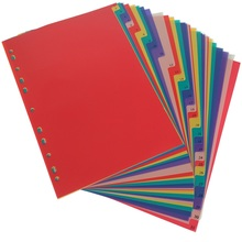 A4  31Pages Colored PP Binder Index Divider 11Holes Archives Files Color Index Binder Office Supplies