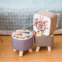 Fabric sofa stool children's small round stool home creative bench gift solid wood small stool