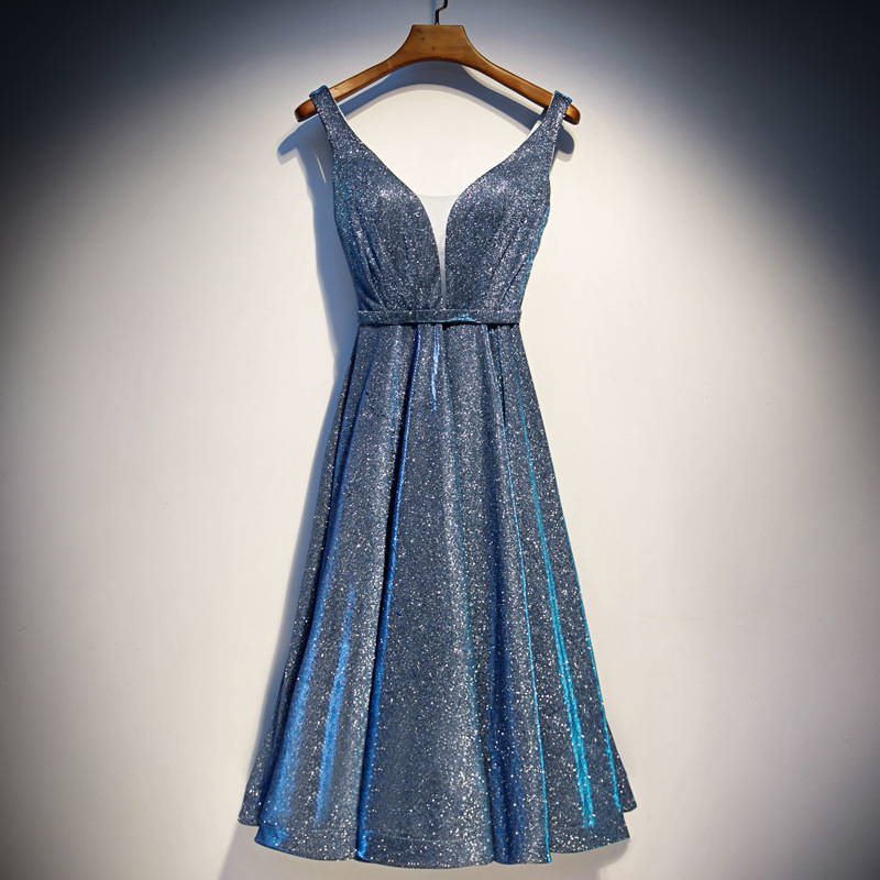 2020 Luxury Silver Blue Long Sequin Evening Dress V Neck Cheap Evening Gowns Sleeveless Prom Party Formal Dresses Wear Sashes