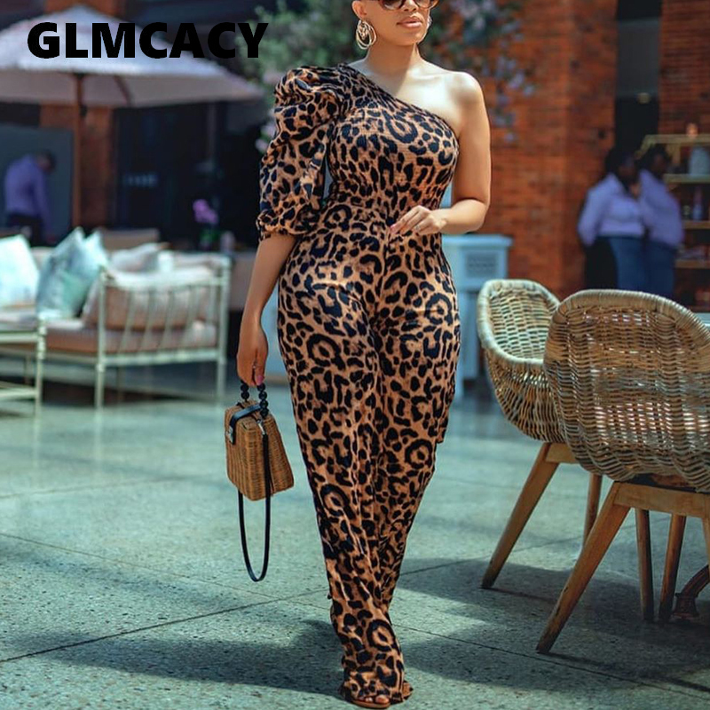 Women Sexy One  Shoulder Long Jumpsuits Classy Regular Overalls Elegant Office Ladies Workwear Leopard Jumpsuit