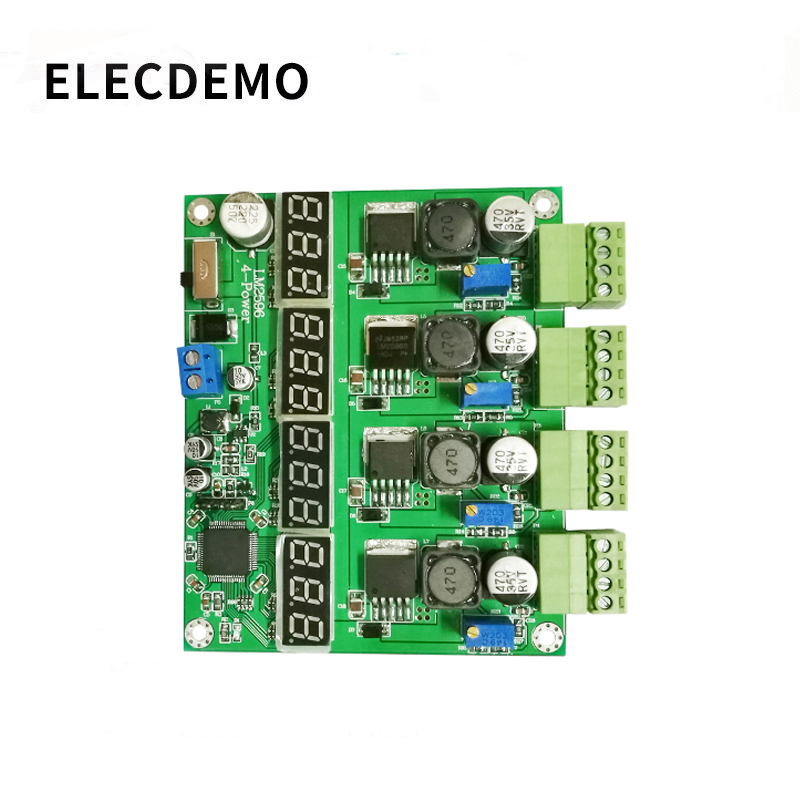 Power Supply Module Multi-channel Switching Four Digital Display LM2596 Module  DC-DC Adjustable Buck Output Power Module