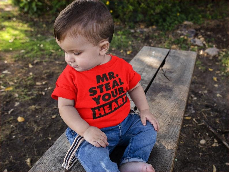 Boy Valentines Shirt Mr Steal Your Heart T-Shirt Toddler Boy Valentines TShirt Cute Mr. Steal Your Heart Valentine's Day T-Shirt