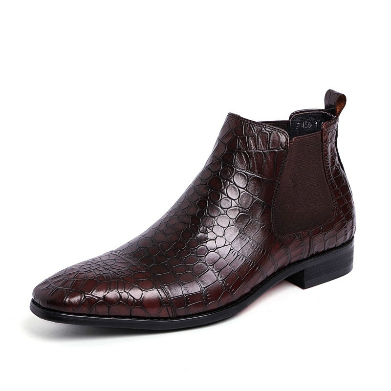 Mens Cowboy Boots Imported Italian Tan Leather Chelsea Boots Dress Shoes Crocodile Leather Stretch Ankle Boot Red Bottom Bota