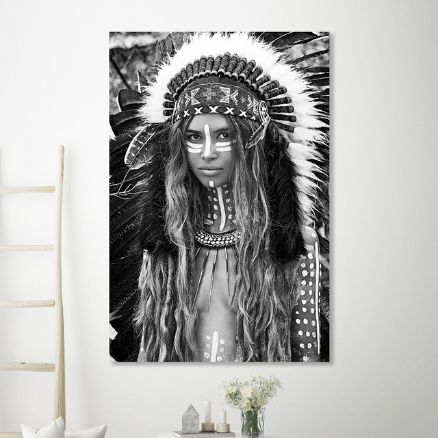 Black and White Boho Woman Canvas Poster
