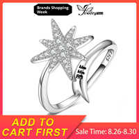 JewelryPalace Engraved BFF Snowflake Meteor Pave Cubic Zirconia Shooting Star Adjustable Open Ring 925 Sterling Silver Jewelry