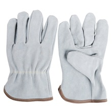 5 Pairs Two-Layer Cowhide Welding Gloves for Welder Welding Machinery Labor Protective Light Color Safety Leather Gloves