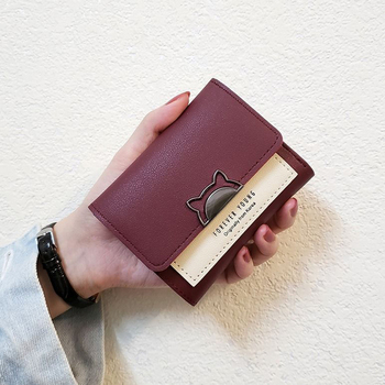 Urocze portfele skórzane portfele damskie portfel mody Student Coin torebka posiadacz karty panie Clutch Bag Cat mała damska torebka tanie i dobre opinie Hasp Wnętrza przedziału Kieszonka na monety Uwaga przedziału Zdjęcie holder Krótki Standardowe portfele 12cm Stałe