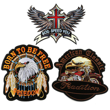 Embroidered Large size God Speed Red Cross Wing Patches Motorcycle Biker motor biker motocross for vest Jackets