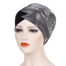 Turban pour femmes musulmanes, avec perle brillante, intérieur en coton solide, bonnet arabe, turban islamique, 2021